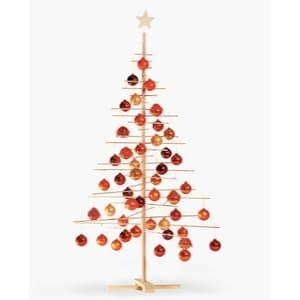 Arbol de madera con bolas de navidad