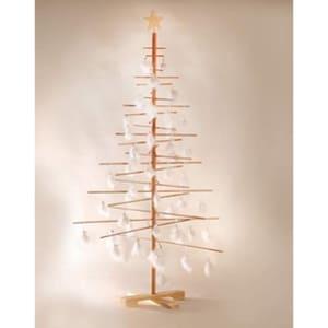 Arbol de navidad de madera con plumas